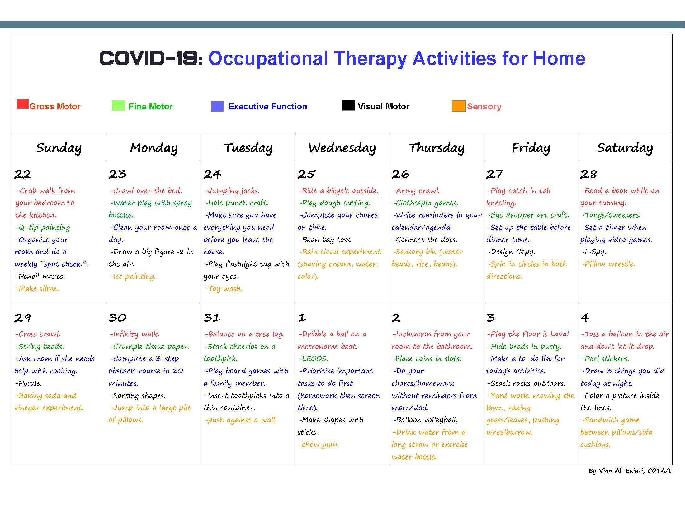 COVID-19: Occupational Therapy Activities for Home page 1