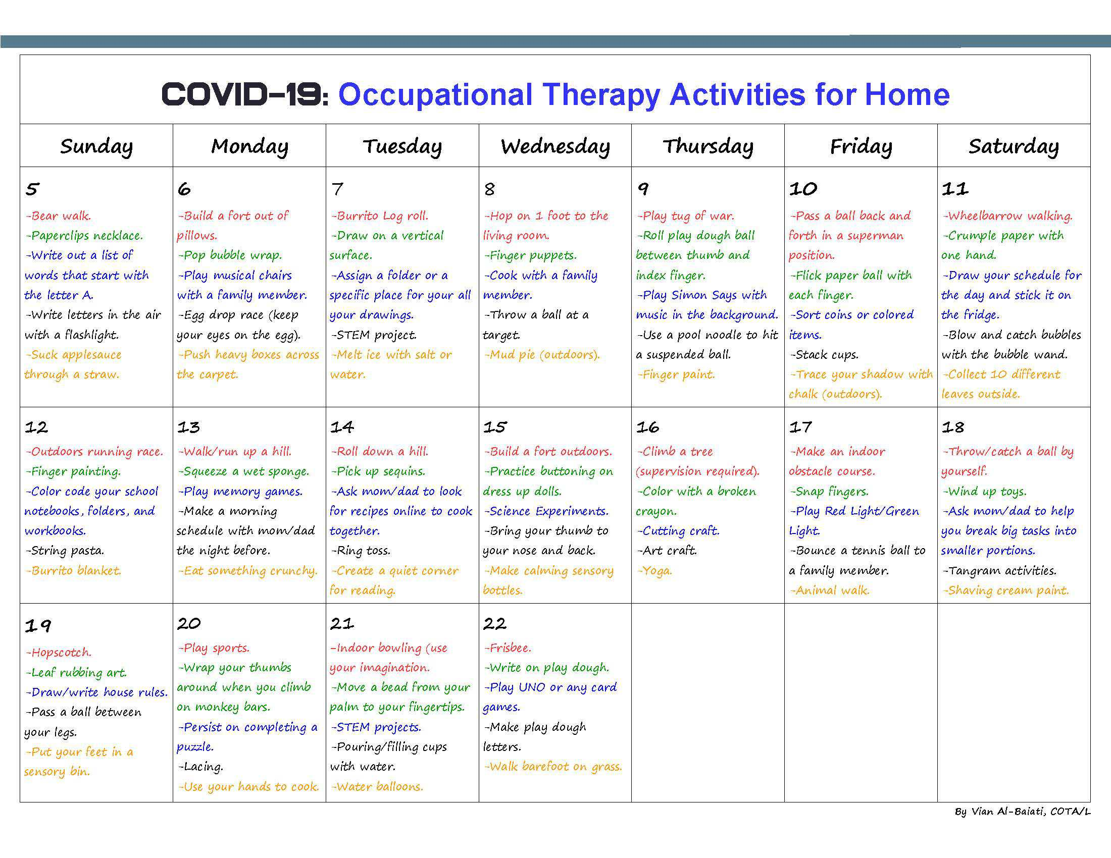 COVID-19: Occupational Therapy Activities for Home page 2