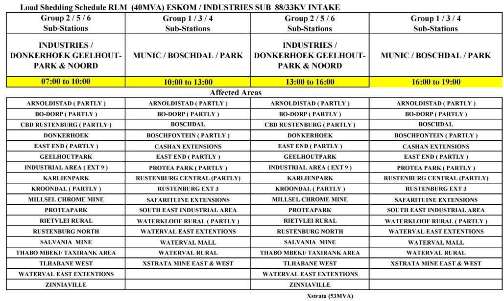 Load Shedding Schedule Eskom Wallpaper: RLM Releases Emergency Loadshedding Schedule