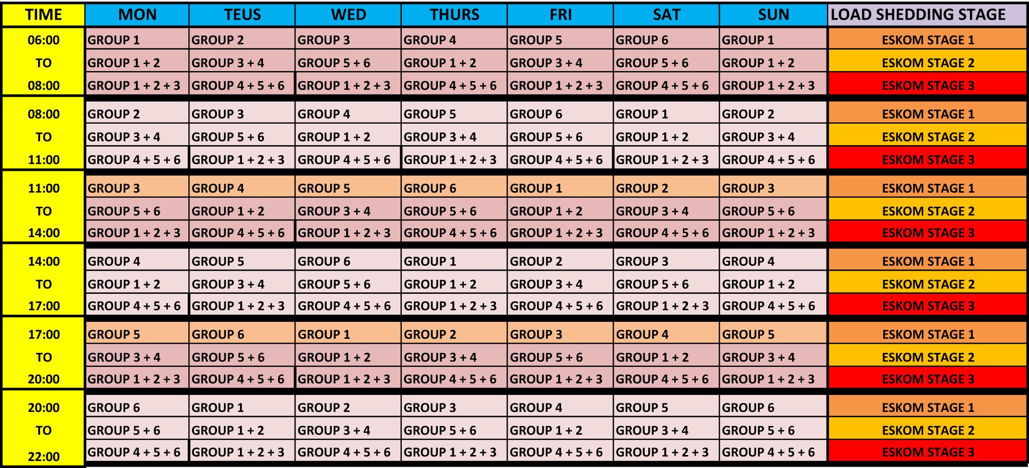 Load Shedding Eskom: Load Shedding Schedule For Rustenburg