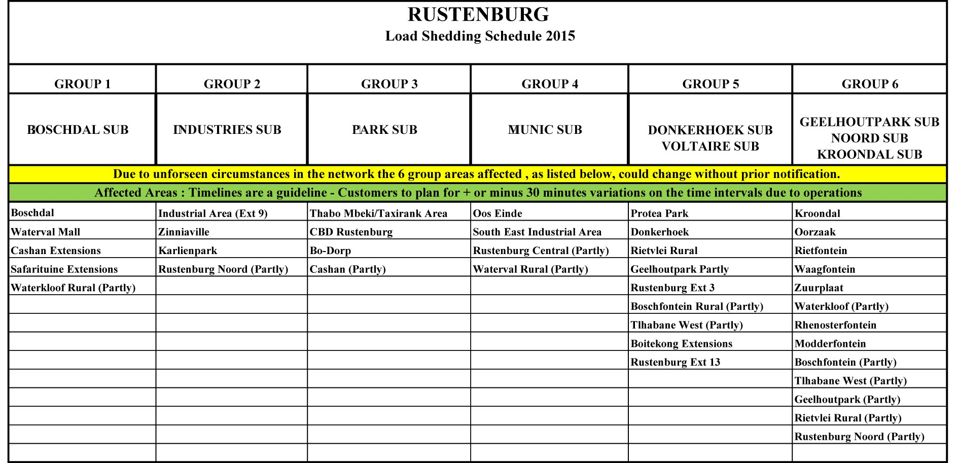 Load Shedding Schedule For Rustenburg
