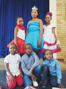 PA Theron Primary School in Stilfontein chose Mr and Miss PA Theron last week. The winners are (back) Botshelo Makung (first princess), Miss PA Theron Karabo Nkomo and Regontshitswe Lekoloane (second princess) and (front) Bohlokwa Tsehle (first runner-up), Mr PA Theron Oarabile Gamane and Mbulelo Masia (second runner-up).