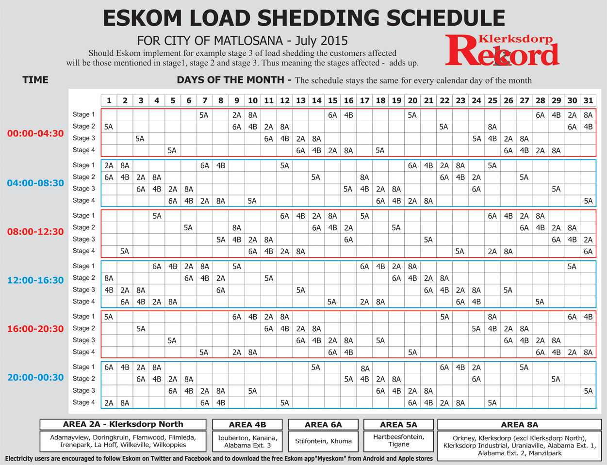 Load Shedding Schedule 2019 Picture