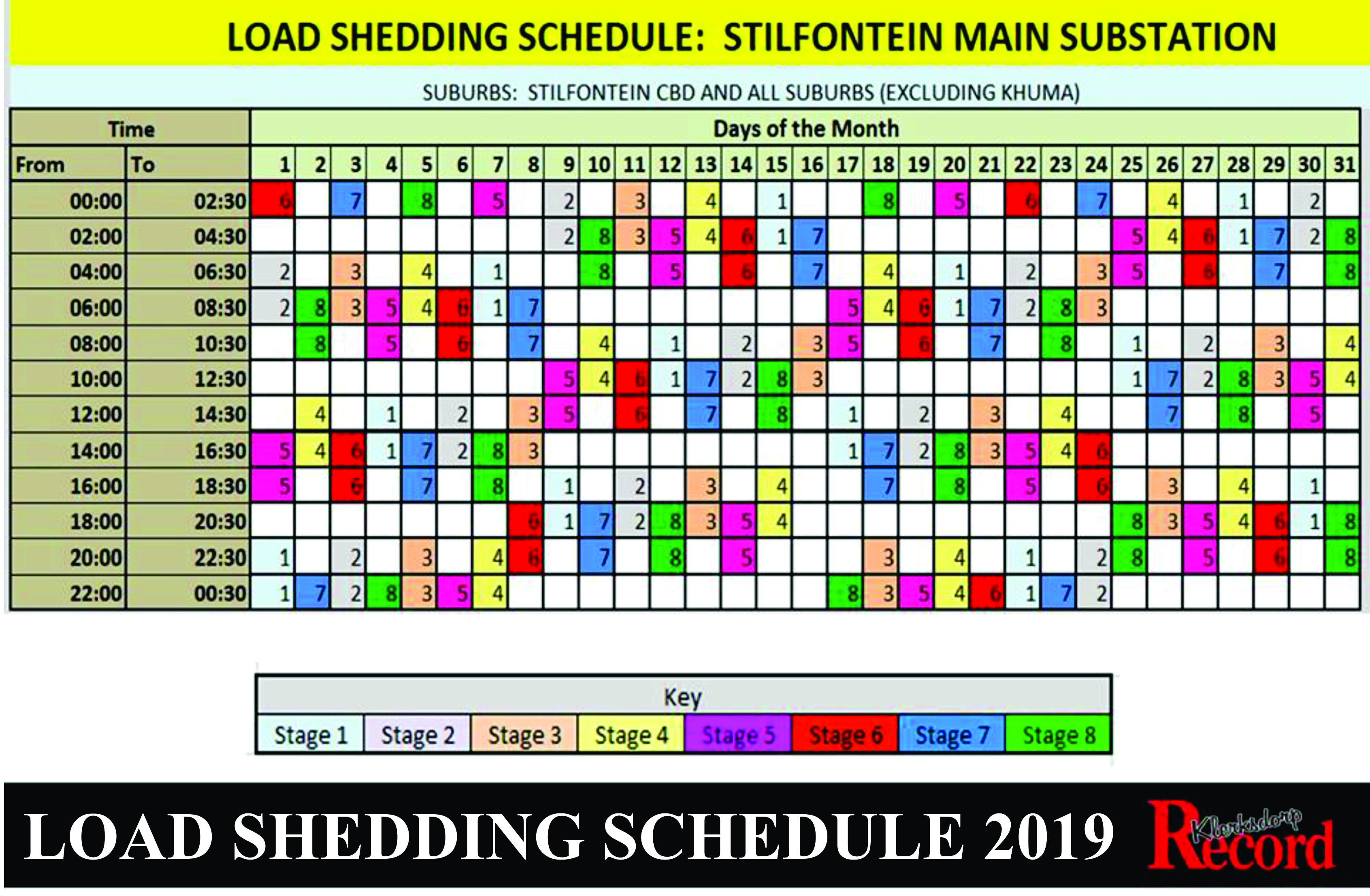 Loadshedding schedule