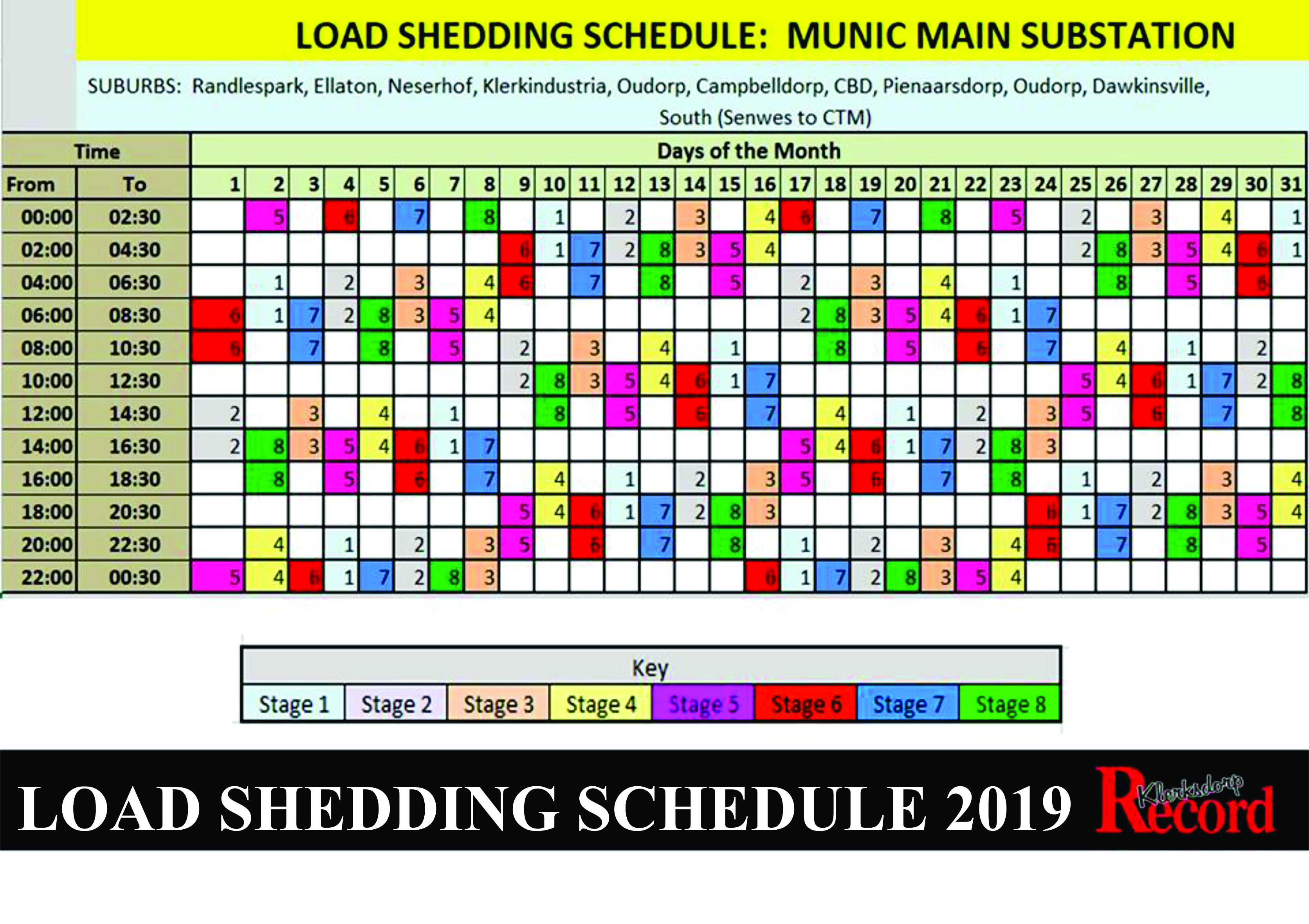 Load Shedding Schedules 2019