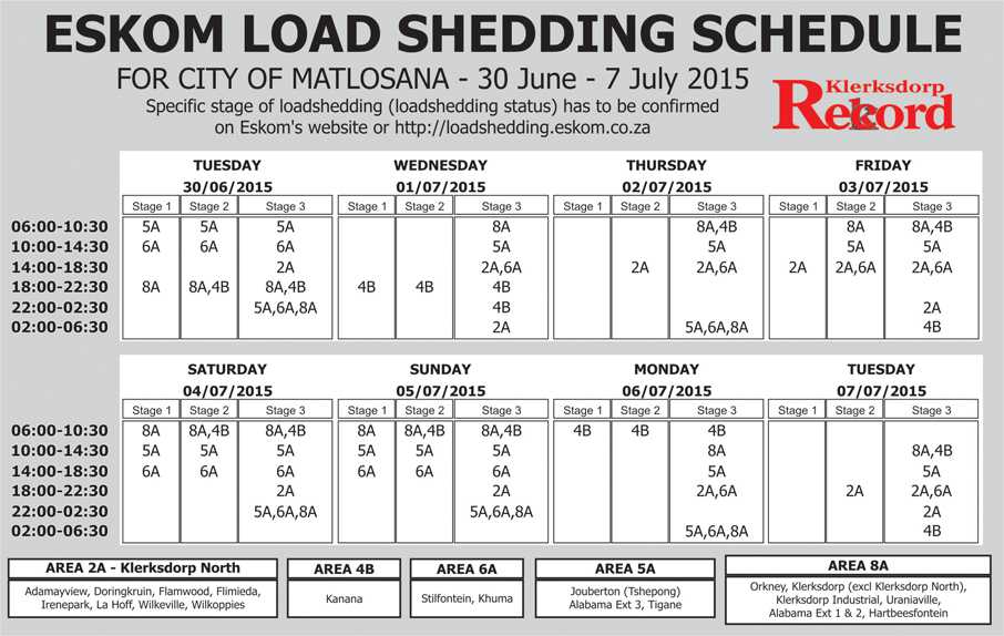 Load Shedding Schedule 2019: Loadshed Schedule 30 June
