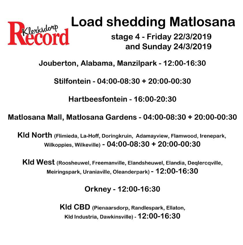 Get your long weekend load shedding schedule